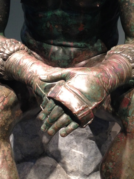 Detail of The Boxer sculpture in the Museum Nazionale Romano