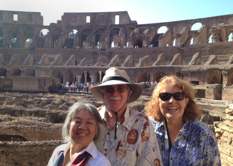 My friend Linda, at right, Pete, and me in the Colloseum.