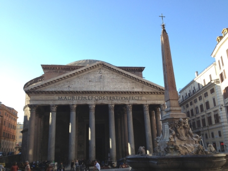 Pantheon, front view. Note the diameter of the columns.