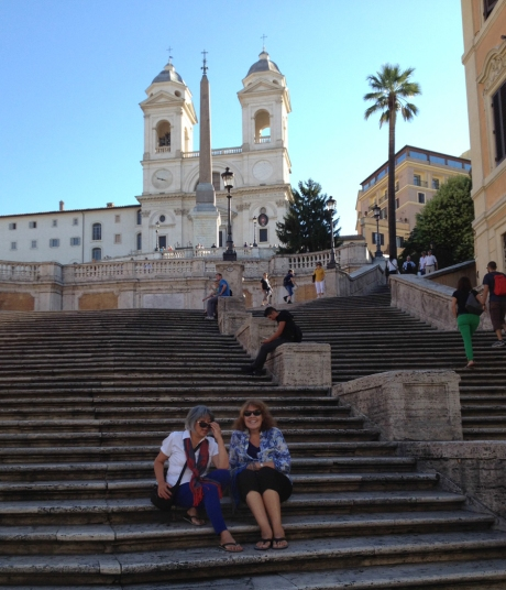 Rebekah and Linda on the Spanish Steps on an uncommonly uncrowded morning, we're told.