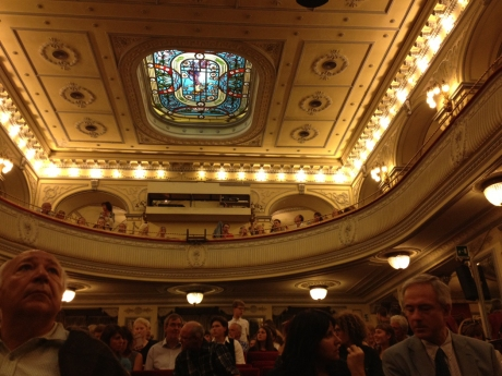 "We sat in the middle of the fourth row in this small-sized theater for ""La Traviata."""