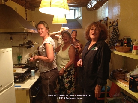 Our many cooks in our Italy kitchen: Christiane, from left, Nani, Hana (behind Nani), Verdine, Linda