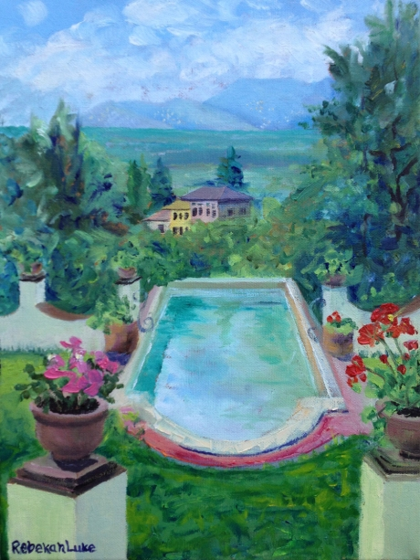 """Pool at Villa Minghetti,"" oil, 30 cm x 40 cm, by Rebekah Luke"