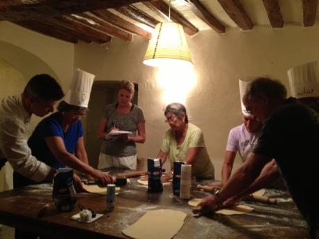 The big wooden kitchen table was ideal for four couples to roll out the pasta dough.