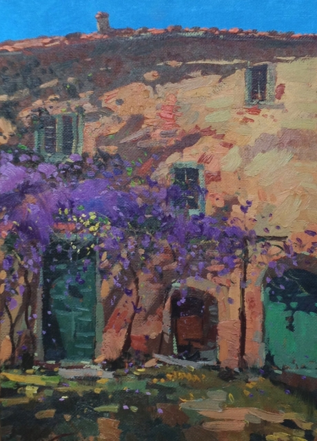 This is the finished oil painting by Agostino Veroni of the wisteria. He liked this one a lot.