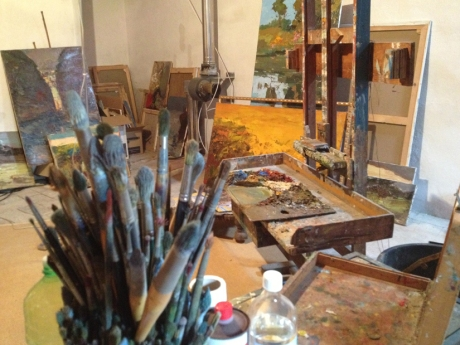The artist's working studio