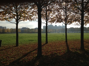 The large chateau of Saint Germain-en-Laye on the right through the trees in the park. To the left of the chateau are mansions.