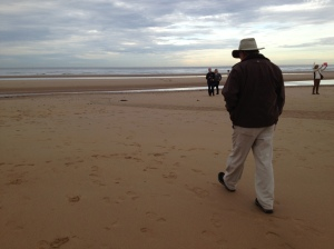 Pete at Omaha Beach where his Uncle Lee might have landed with supplies, two weeks behind the front lines.