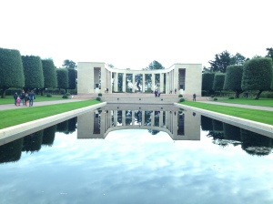 Memorial and reflecting pool at the American Cemetery