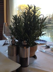 Table centerpiece of rosemary. The chef had an herb garden on the sun deck, too.